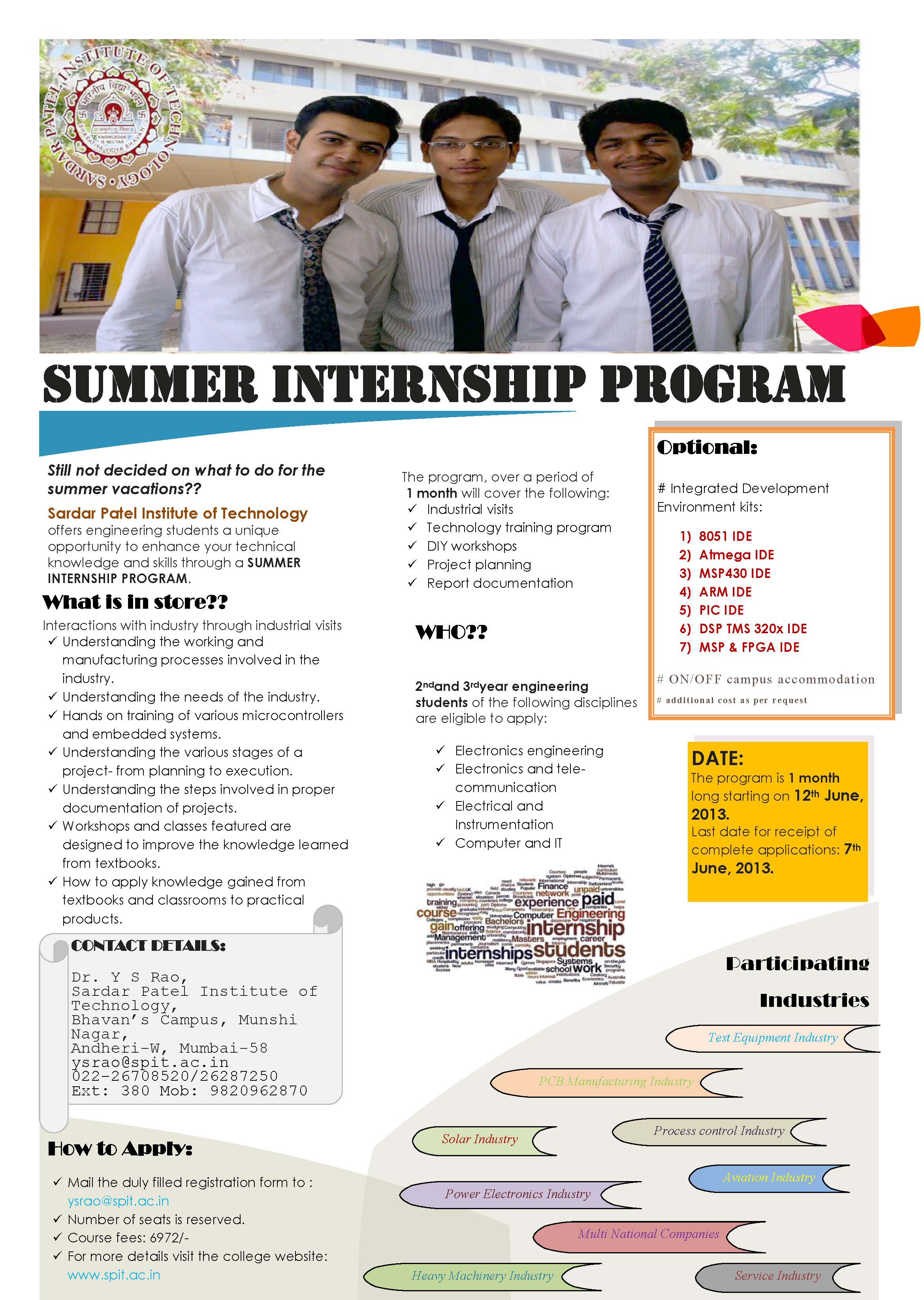 summer internship program  u00ab sardar patel institute of technology
