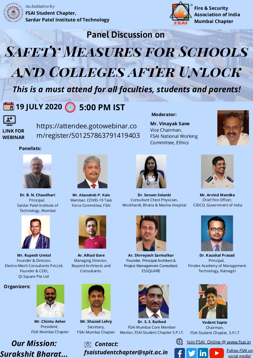 """Panel Discussion on """"Safety Measures for Schools & Colleges after Unlock"""" on Sunday 19th July, 5:00 PM (IST)"""