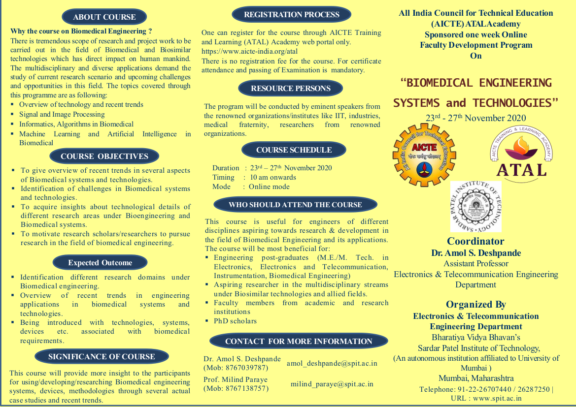 """AICTE ATAL Academy's Faculty Development Programme(FDP) on """"Biomedical Engineering Systems & Technologies"""" during 23rd to 27th November, 2020"""