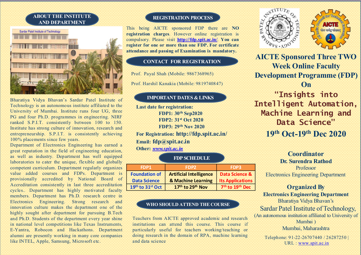 AICTE Sponsored Three TWO Week Online FDP On Insights into Intelligent Automation, Machine Learning and Data Science 19th Oct to 19th Dec 2020