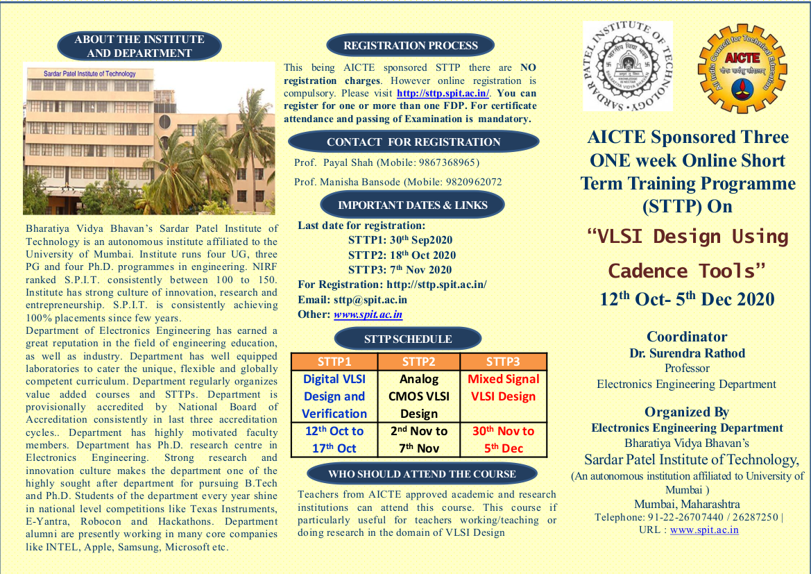 AICTE Sponsored Three ONE week Online Short Term Training Programme (STTP) On VLSI Design Using Cadence Tools 12th Oct to 5th Dec 2020