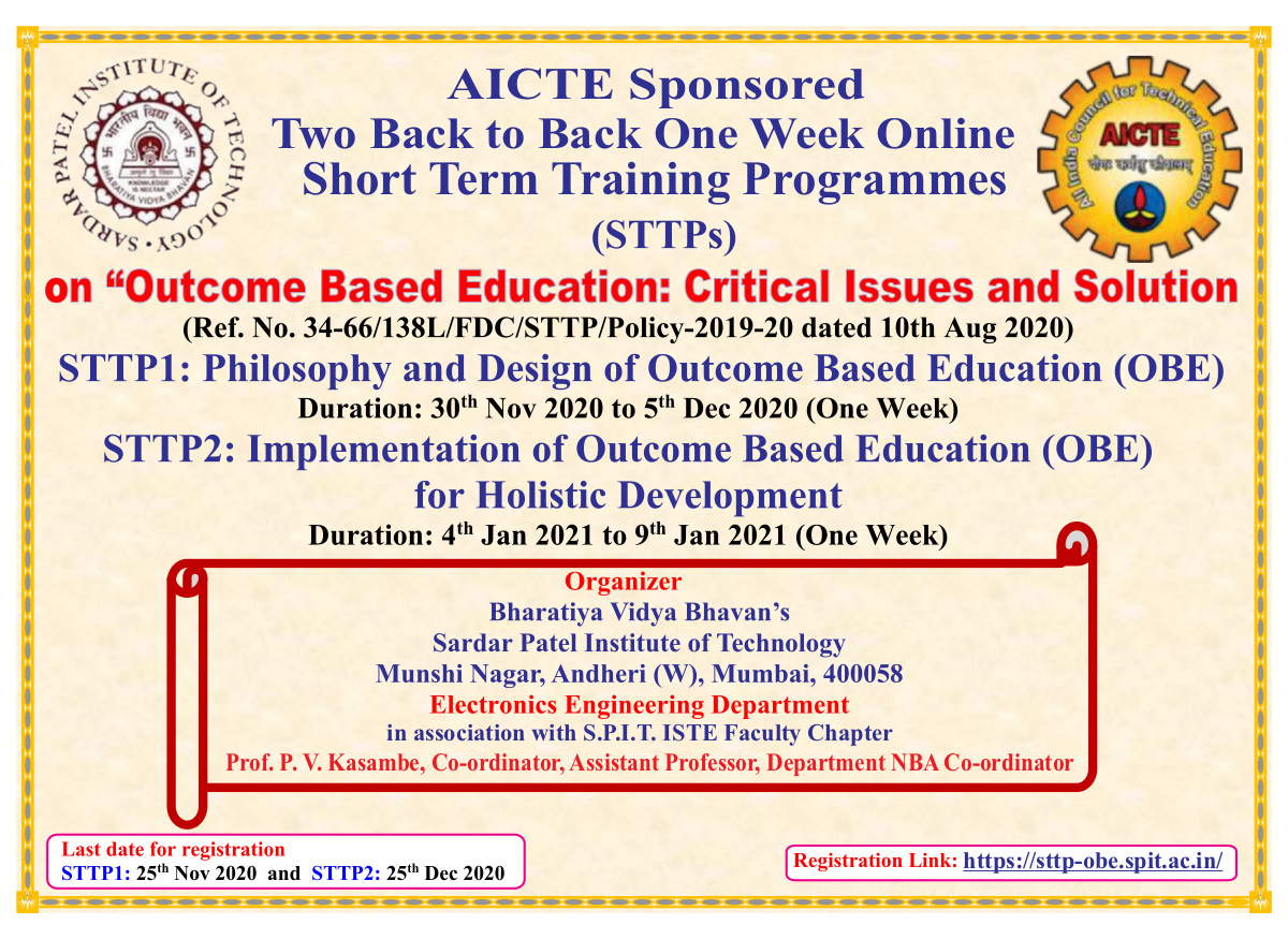 AICTE Sponsored Short Term Training Program (STTP) on Outcome Based Education: Critical Issues and Solution from 30th Nov 2020 to 9th Jan 2021